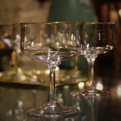 Modernist Crystal Champagne Coupes with Gold Rims (LEO Design)