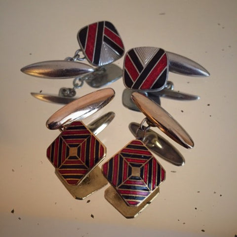 A Collection of English Art Deco Enameled Cufflinks in Red and Black (LEO Design)