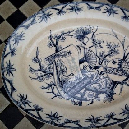 Victorian English Aesthetic Movement Transferware Platter (LEO Design)
