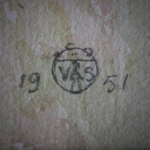 Artist's Cipher on Watercolor of Anstey's Cove, Cornwall (LEO Design)