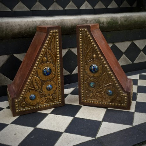 English Arts & Crafts Bookends with Ceramic Ruskins (LEO Design)