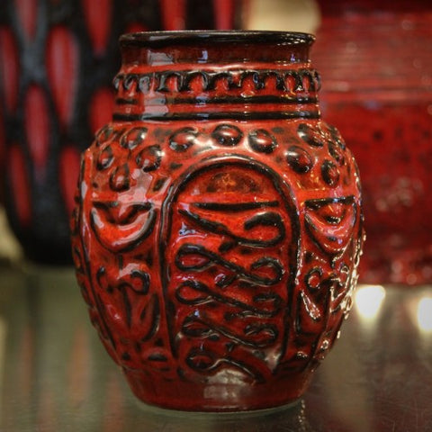 Bay West German Red and Black Glazed Vase (LEO Design)