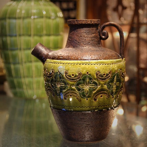 Bitossi Italian Water Jug with Incised and Glazed Lime Green Band (LEO Design)