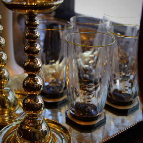 Bohemian Art Deco Crystal Footed Tumblers (LEO Design)