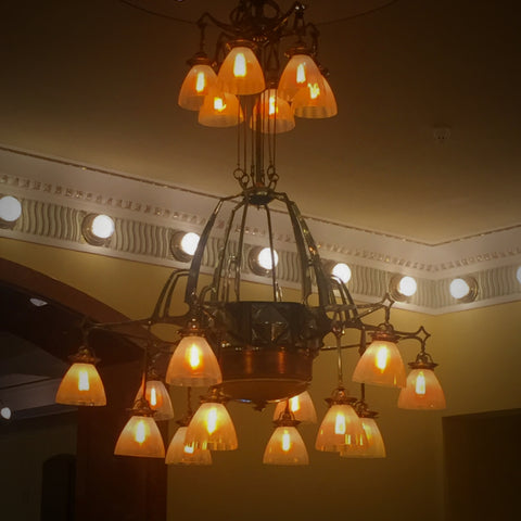 Antique Brass Art Nouveau Chandelier in the Lobby of The Hotel Metropol, Moscow (LEO Design)
