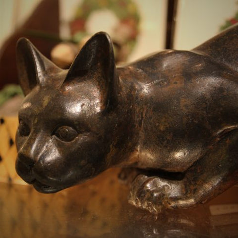 Cast Brass Feline Sculpture with Verdigris Bronze Patina (LEO Design)
