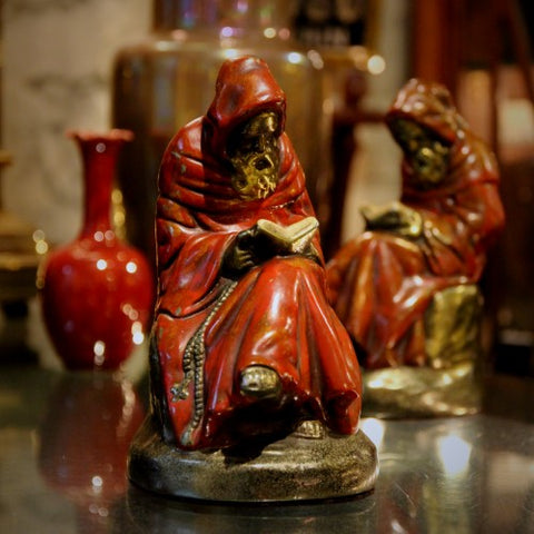 Bronze-Clad and Painted Reading Monk Bookends (LEO Design)