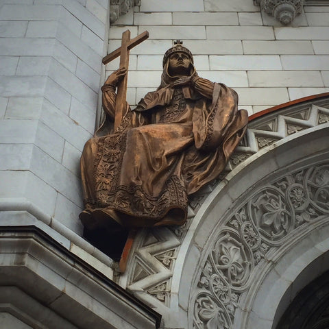 "Bronze ""Overdoor Saint"" on Moscow's Cathedral of Christ the Savior (LEO Design)"