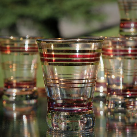 Set of Whiskey or Sweet Wine Glasses with Burgundy and Gold Banding (LEO Design)