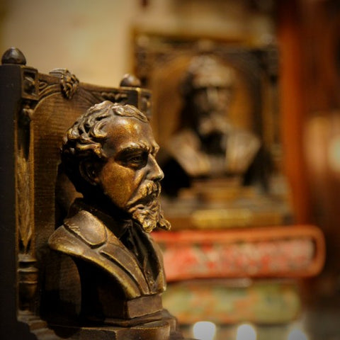 Charles Dickens Bust on Cast Iron Bookends (LEO Design)
