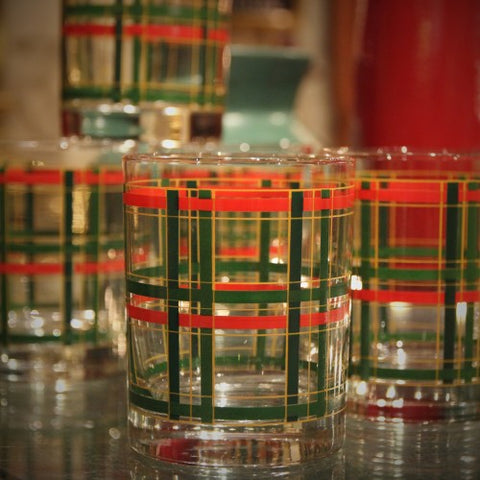 Double Old Fashioned Rocks Glasses with Holiday Plaid Design (LEO Design)