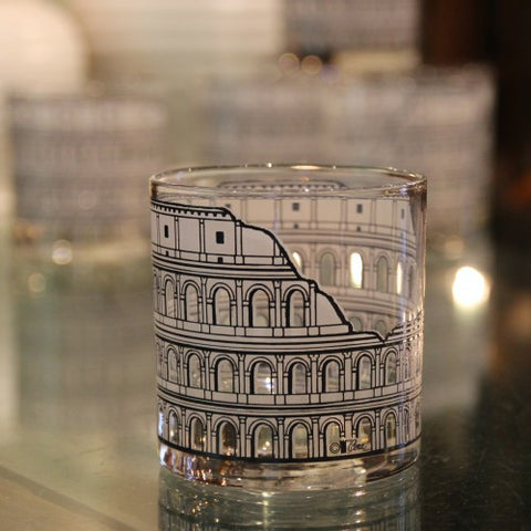 Double Old Fashioned Roman Coliseum Rocks Glasses (LEO Design)