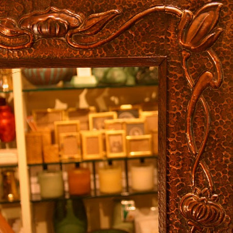 English Arts & Crafts Hand-Tooled Copper Mirror Frame with Whiplash-Poppy Motif (LEO Design)
