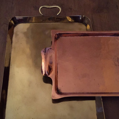 English Arts & Crafts Copper and Brass Trays (LEO Design)