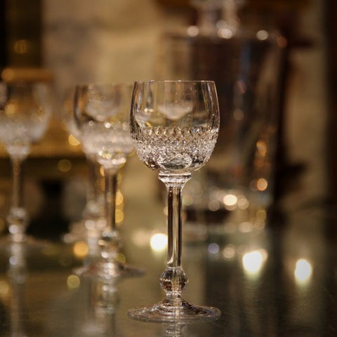 Cut Crystal Sherry Glasses with Reeded Stems (LEO Design)