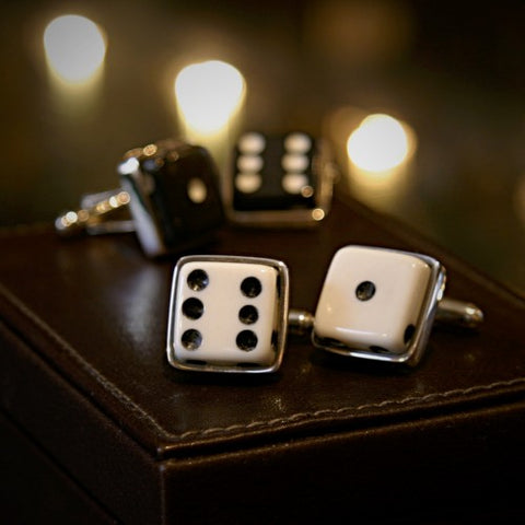 Cufflinks of Game-Played Dice in Silver Settings (LEO Design)