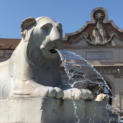 One of Four Egyptian Lion Sculptures in the Central Fountain in Piazza del Popolo, Rome (LEO Design)