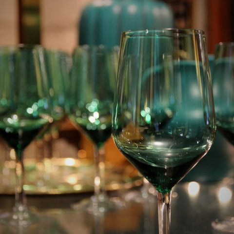 Emerald Green Crystal Wine Glasses (LEO Design)