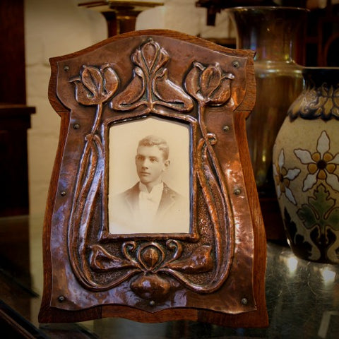 English Arts & Crafts Photo Frame with Hammered Copper Tulips on Oak (LEO Design)