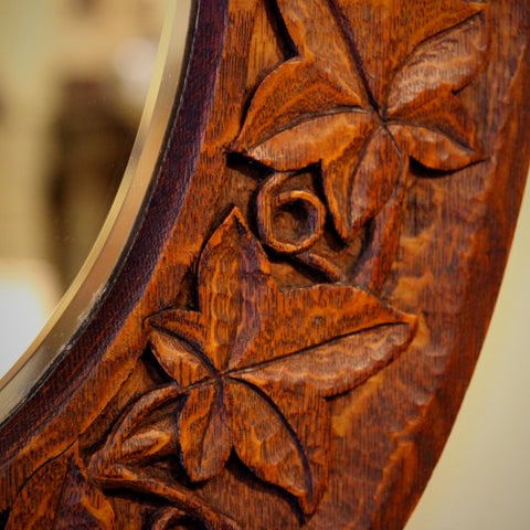 Detail of Ivy Border Carving on an Oak English Arts & Crafts Mirror (LEO Design)