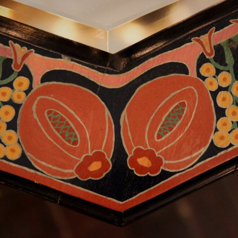 Detail of Hexagonal English Arts & Crafts Hand-Painted Mirror (LEO Design)