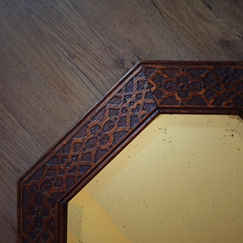 English Bevelled Mirror with Latticed Oak Frame (LEO Design)