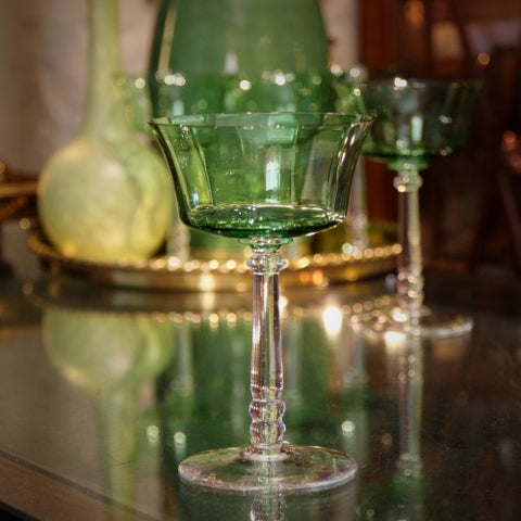 Thirties Emerald Green Faceted Crystal Wine Stems (LEO Design)
