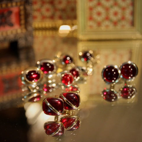 A Collection of Ruby Glass Cufflinks at LEO Design