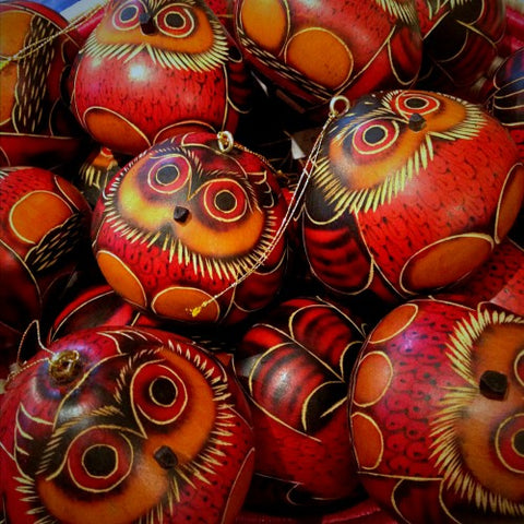 Peruvian Hand-Painted Pyrographic Gourd Owl Ornaments (LEO Design)