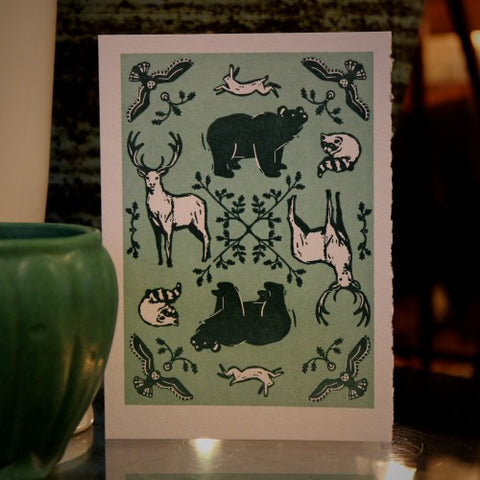 "Letterpress ""Wild Animals"" Greeting Card (LEO Design)"
