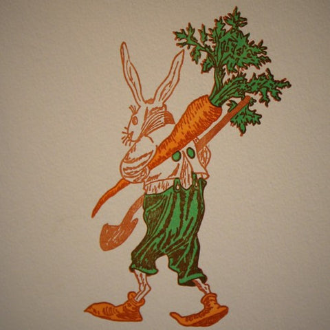 Gardener Rabbit Letterpress Greeting Card (LEO Design)