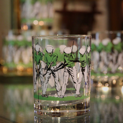 """Set of Four Double Old Fashioned """"Golf Swing"""" Rocks Glasses (LEO Design)"""