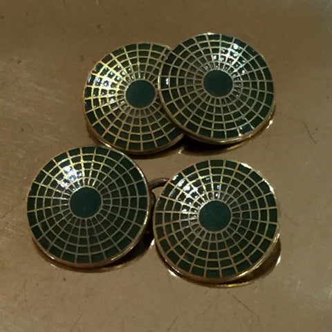 English Art Deco Cufflinks with Pine Green Enameling (LEO Design)