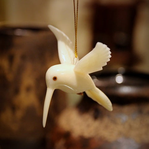 Carved Tagua Nut Hummingbird Christmas Ornament (LEO Design)