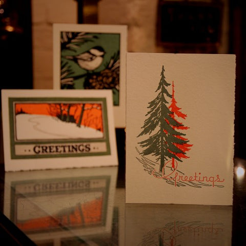 Collection of Letterpress Holiday Greeting Cards (LEO Design)
