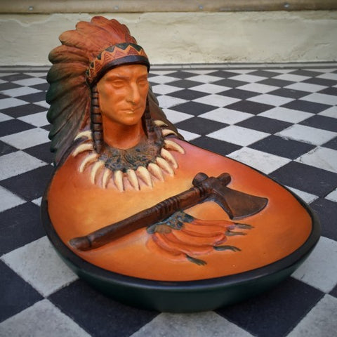 Ipsen Danish Art Nouveau Ceramic Indian Chief Bowl (LEO Design)