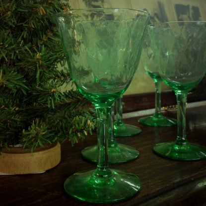 Irish Green Quilted Glass Sherry Stems (LEO Design)