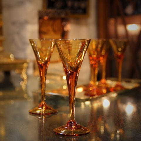 Italian Modernist Amberglass Sherry Stems (LEO Design)