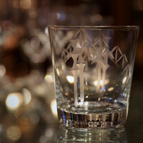 Sasaki Japanese Crystal Whiskey Glasses with Hand-Etched Bamboo Decoration (LEO Design)