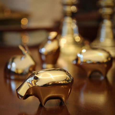 Japanese Modernist Brass Hippo Sculpture (LEO Design)