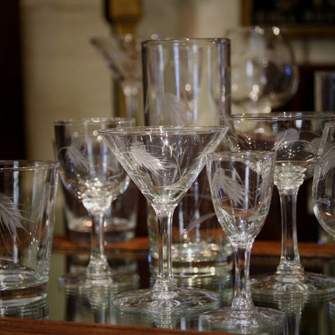 Japanese Glassware Collection with Hand-Etched Wheat Motif (LEO Design)