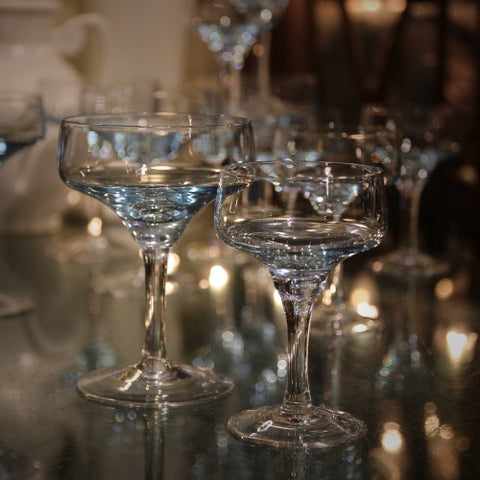 Japanese Icy Blue Crystal Champagne Coupes and Demi-Coupes (LEO Design)