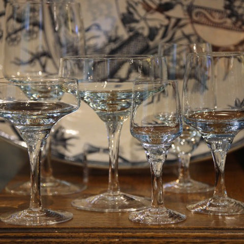 A Collection of Japanese Icy Blue Crystal Glassware (LEO Design)