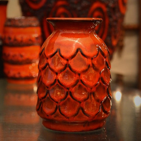 Jasba Fish Scale Vase with Orange Glazing (LEO Design)