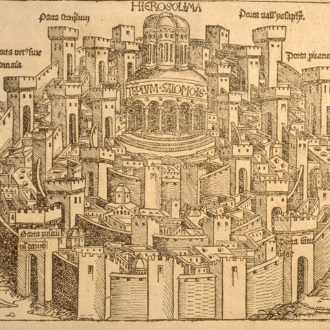 Old Print of Jerusalem's Walled City (LEO Design)