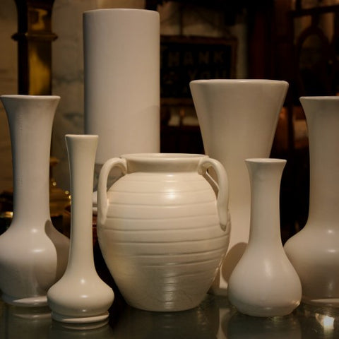 A Collection of Vintage Matte White Art Pottery (LEO Design)