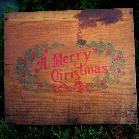 "Vintage Wooden ""A Merry Christmas"" Box (LEO Design)"