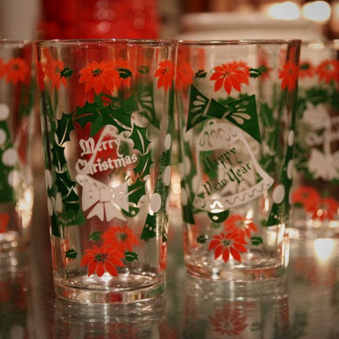 Vintage Old-Time Christmas Highball Tumblers (LEO Design)