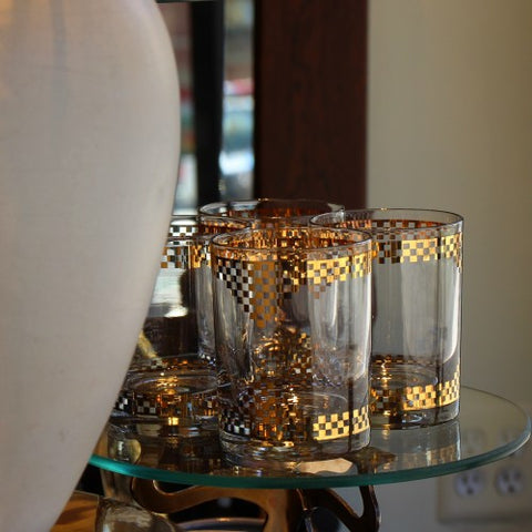 Double Old Fashioned Rocks Glasses with Gold Checkering (LEO Design)
