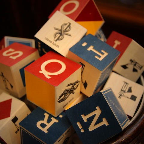 Wooden Nautical Blocks with Letters, Morse Code and Semaphore Signals (LEO Design)